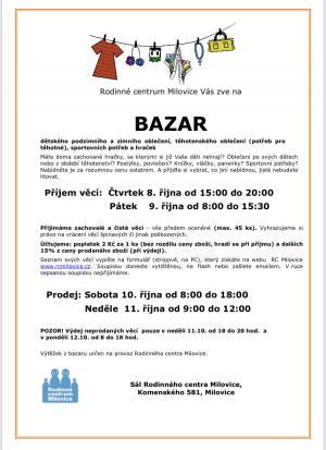 Podzimní bazar - příjem věcí  8-15:30 1